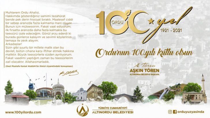 Başkan Tören'in Ordu'nun il oluşunun 100'üncü yıl  kutlama mesajı